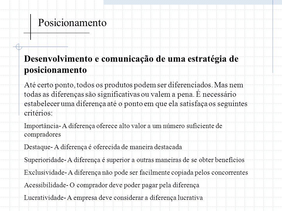 Posicionamento Desenvolvimento e comunicação de uma estratégia de posicionamento Até certo ponto, todos os produtos podem ser diferenciados. Mas nem t