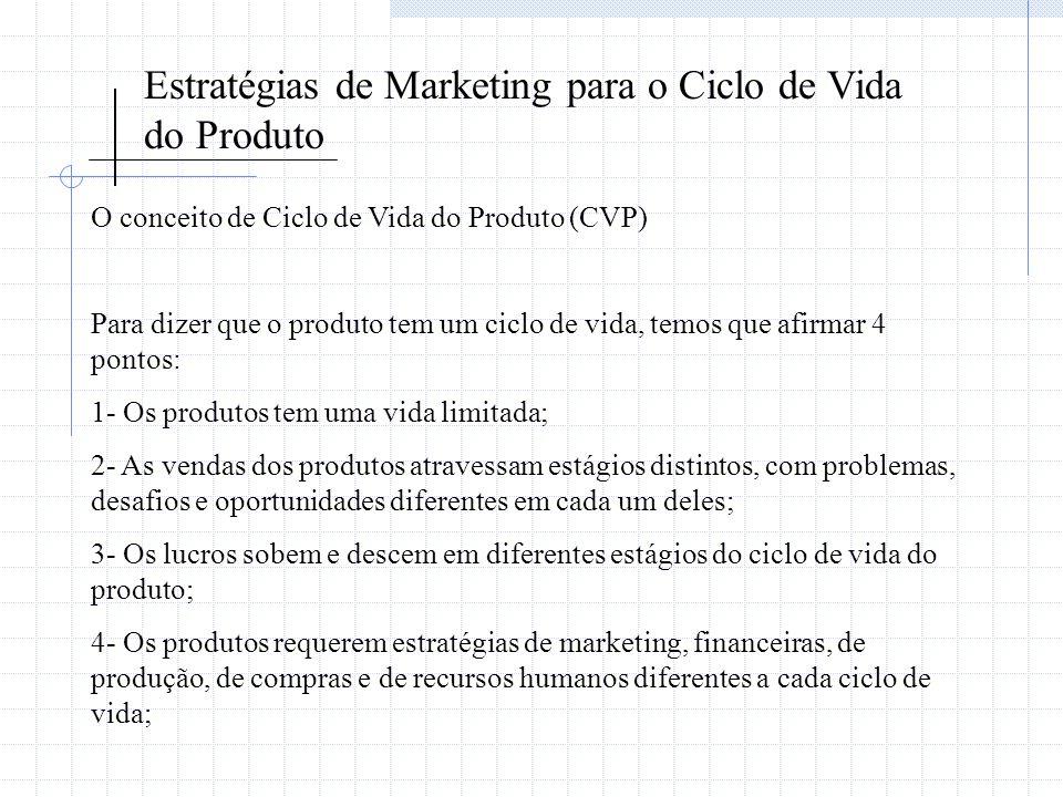 Estratégias de Marketing para o Ciclo de Vida do Produto O conceito de Ciclo de Vida do Produto (CVP) Para dizer que o produto tem um ciclo de vida, t