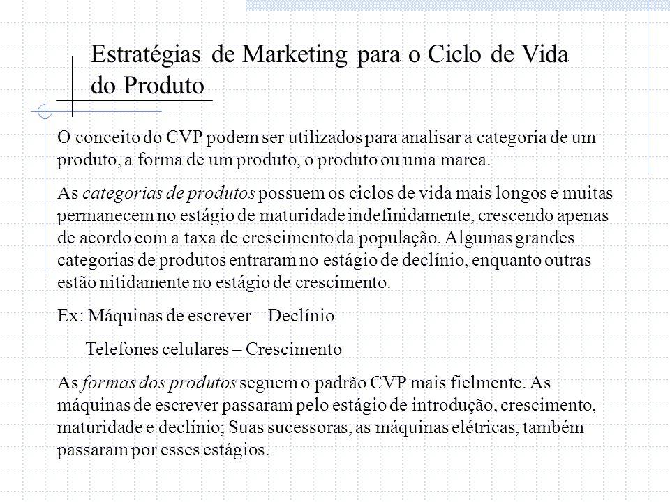 Estratégias de Marketing para o Ciclo de Vida do Produto O conceito do CVP podem ser utilizados para analisar a categoria de um produto, a forma de um
