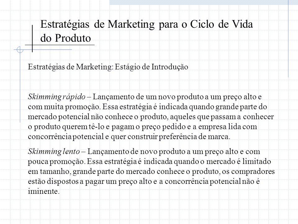 Estratégias de Marketing para o Ciclo de Vida do Produto Estratégias de Marketing: Estágio de Introdução Skimming rápido – Lançamento de um novo produ