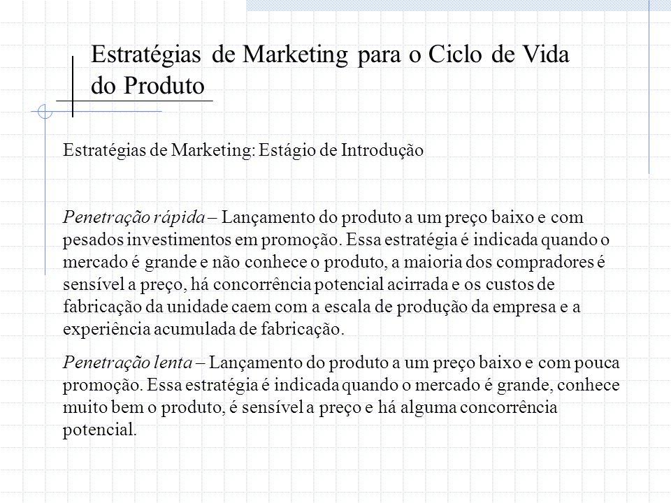 Estratégias de Marketing para o Ciclo de Vida do Produto Estratégias de Marketing: Estágio de Introdução Penetração rápida – Lançamento do produto a u