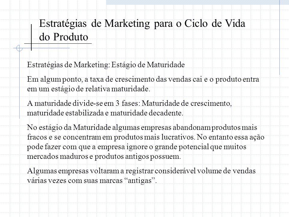 Estratégias de Marketing para o Ciclo de Vida do Produto Estratégias de Marketing: Estágio de Maturidade Em algum ponto, a taxa de crescimento das ven