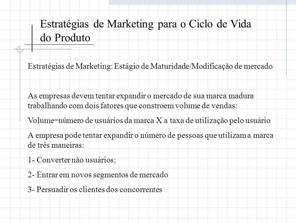 Estratégias de Marketing para o Ciclo de Vida do Produto Estratégias de Marketing: Estágio de Maturidade/Modificação de mercado As empresas devem tent