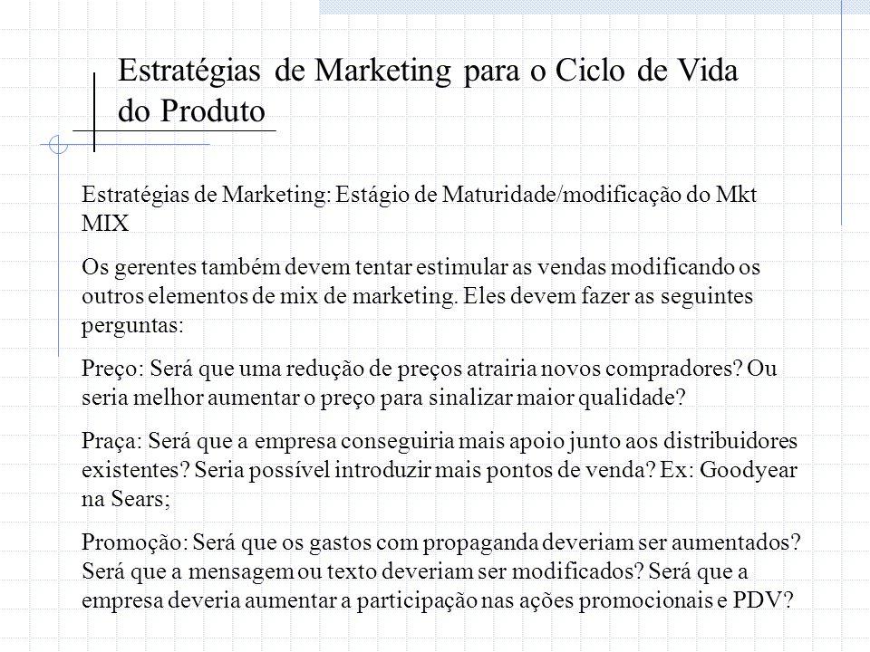 Estratégias de Marketing para o Ciclo de Vida do Produto Estratégias de Marketing: Estágio de Maturidade/modificação do Mkt MIX Os gerentes também dev
