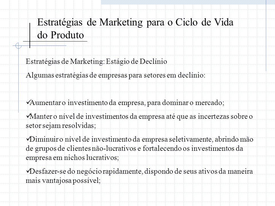Estratégias de Marketing para o Ciclo de Vida do Produto Estratégias de Marketing: Estágio de Declínio Algumas estratégias de empresas para setores em