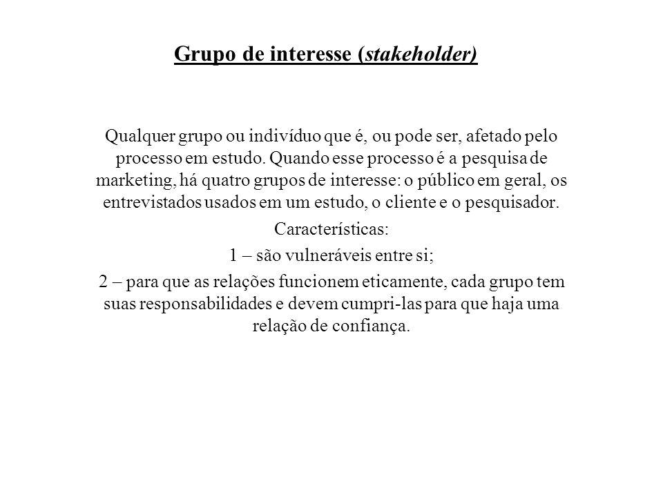 Grupo de interesse (stakeholder) Qualquer grupo ou indivíduo que é, ou pode ser, afetado pelo processo em estudo. Quando esse processo é a pesquisa de