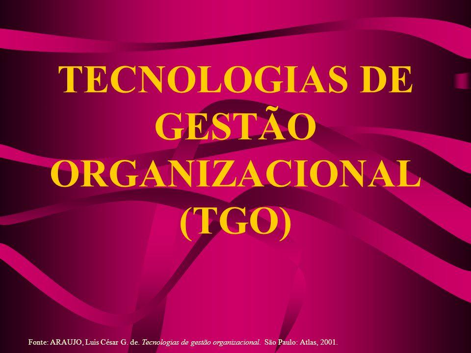 TECNOLOGIAS DE GESTÃO ORGANIZACIONAL (TGO) Fonte: ARAUJO, Luis César G. de. Tecnologias de gestão organizacional. São Paulo: Atlas, 2001.