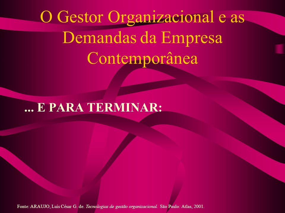 O Gestor Organizacional e as Demandas da Empresa Contemporânea... E PARA TERMINAR: Fonte: ARAUJO, Luis César G. de. Tecnologias de gestão organizacion