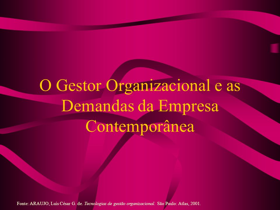 O Gestor Organizacional e as Demandas da Empresa Contemporânea Fonte: ARAUJO, Luis César G. de. Tecnologias de gestão organizacional. São Paulo: Atlas