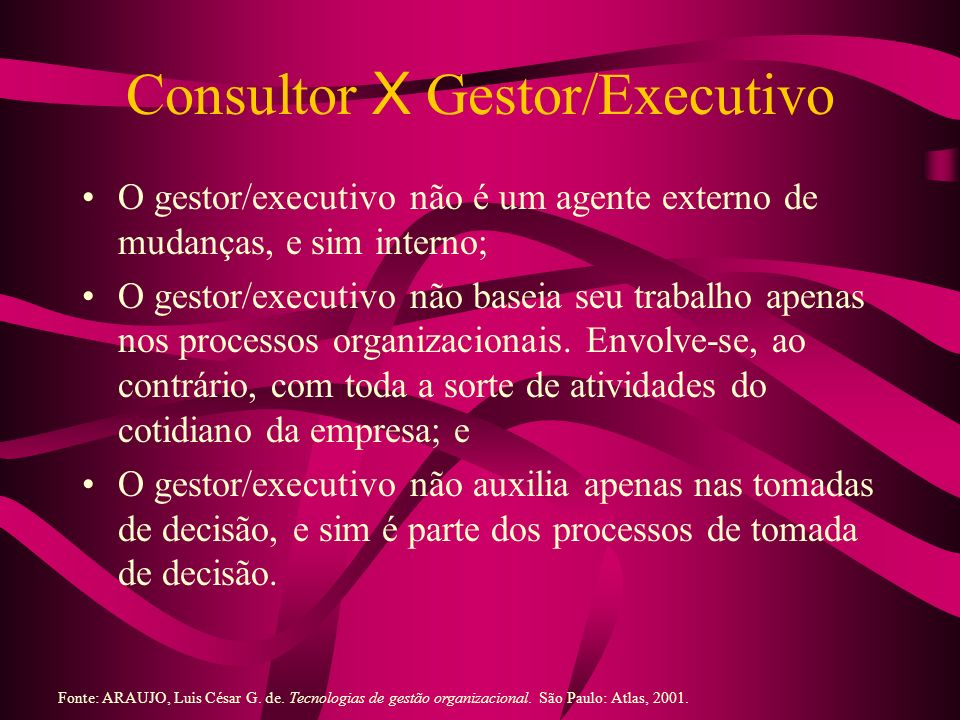 Consultor X Gestor/Executivo O gestor/executivo não é um agente externo de mudanças, e sim interno; O gestor/executivo não baseia seu trabalho apenas