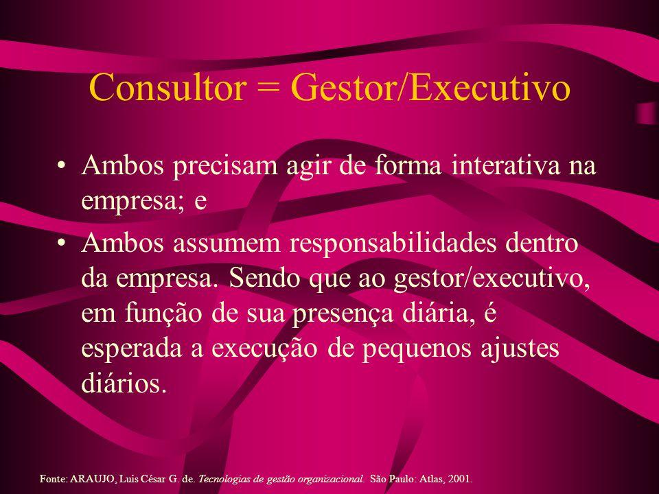 Consultor = Gestor/Executivo Ambos precisam agir de forma interativa na empresa; e Ambos assumem responsabilidades dentro da empresa. Sendo que ao ges