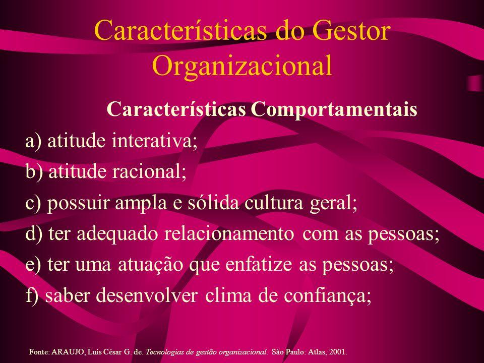 Características do Gestor Organizacional (2) Características Comportamentais g) saber obter comprometimento das pessoas; h) ter diálogo otimizado; i) ter alma de negociador; j) vestir a camisa da empresa-cliente; e k) saber trabalhar com erros.