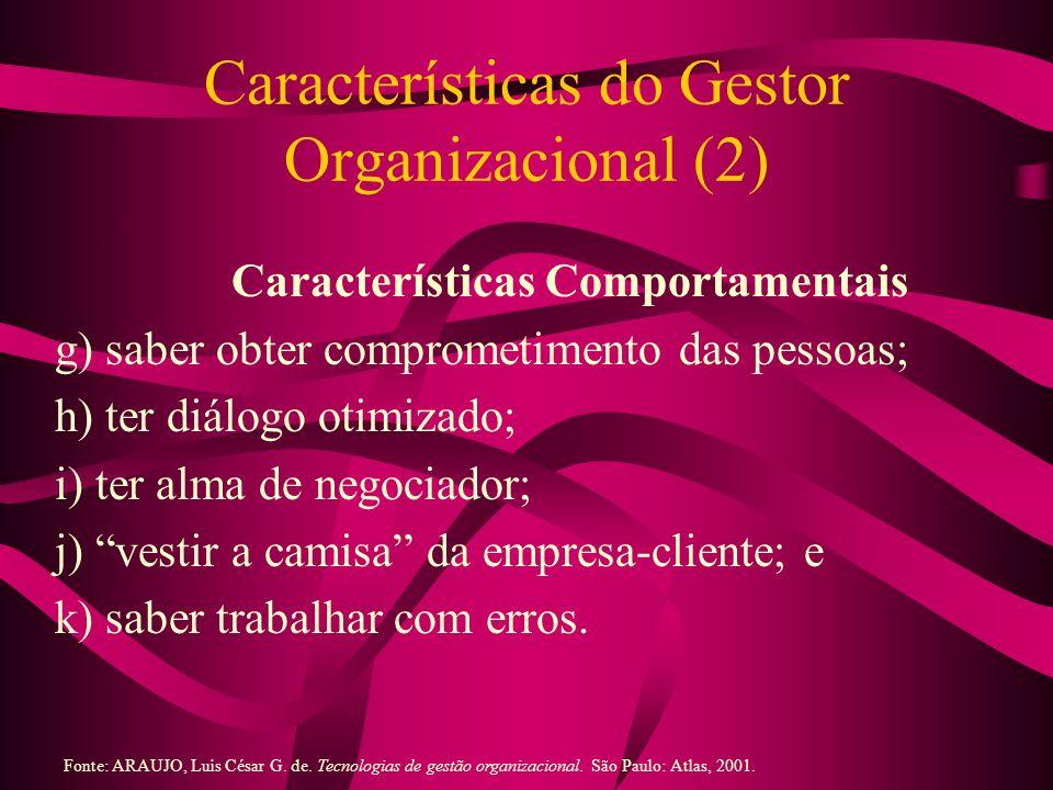 Características do Gestor Organizacional (2) Características Comportamentais g) saber obter comprometimento das pessoas; h) ter diálogo otimizado; i)