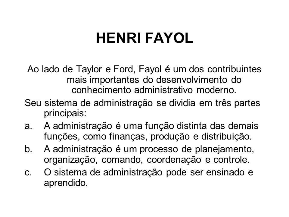 HENRI FAYOL Ao lado de Taylor e Ford, Fayol é um dos contribuintes mais importantes do desenvolvimento do conhecimento administrativo moderno. Seu sis