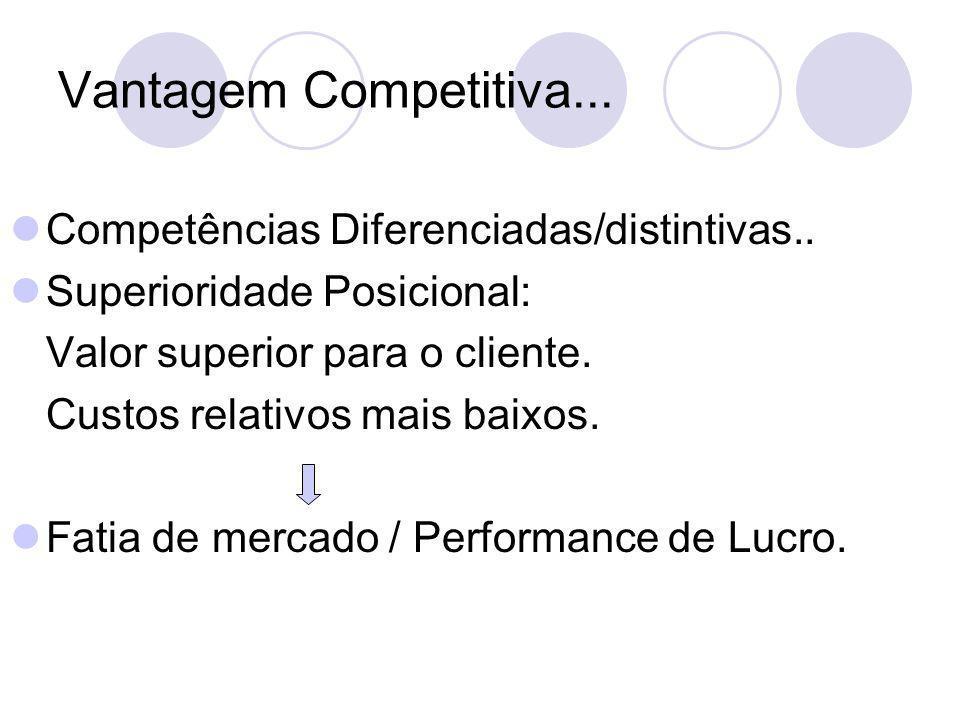 Vantagem Competitiva... Competências Diferenciadas/distintivas.. Superioridade Posicional: Valor superior para o cliente. Custos relativos mais baixos