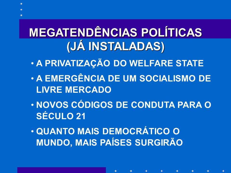 MEGATENDÊNCIAS POLÍTICAS (JÁ INSTALADAS) A PRIVATIZAÇÃO DO WELFARE STATE A EMERGÊNCIA DE UM SOCIALISMO DE LIVRE MERCADO NOVOS CÓDIGOS DE CONDUTA PARA