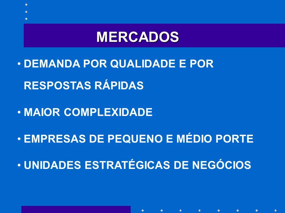MERCADOS DEMANDA POR QUALIDADE E POR RESPOSTAS RÁPIDAS MAIOR COMPLEXIDADE EMPRESAS DE PEQUENO E MÉDIO PORTE UNIDADES ESTRATÉGICAS DE NEGÓCIOS