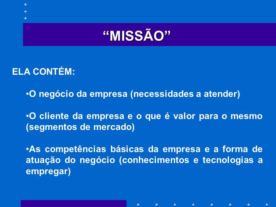 MISSÃO ELA CONTÉM: O negócio da empresa (necessidades a atender) O cliente da empresa e o que é valor para o mesmo (segmentos de mercado) As competênc