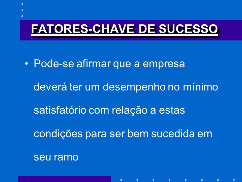 FATORES-CHAVE DE SUCESSO Pode-se afirmar que a empresa deverá ter um desempenho no mínimo satisfatório com relação a estas condições para ser bem suce
