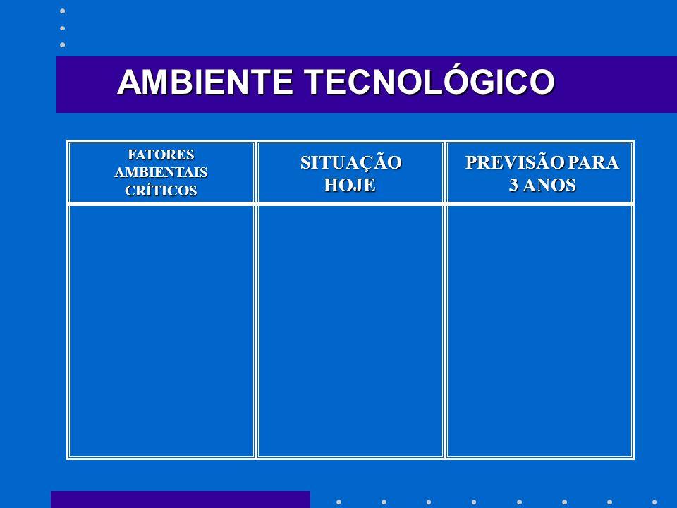 SITUAÇÃO HOJE HOJE PREVISÃO PARA 3 ANOS AMBIENTE TECNOLÓGICO FATORESAMBIENTAISCRÍTICOS