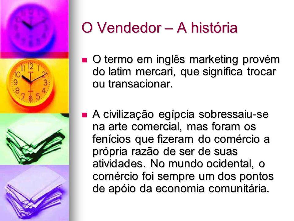 O Vendedor – A história O termo em inglês marketing provém do latim mercari, que significa trocar ou transacionar. O termo em inglês marketing provém