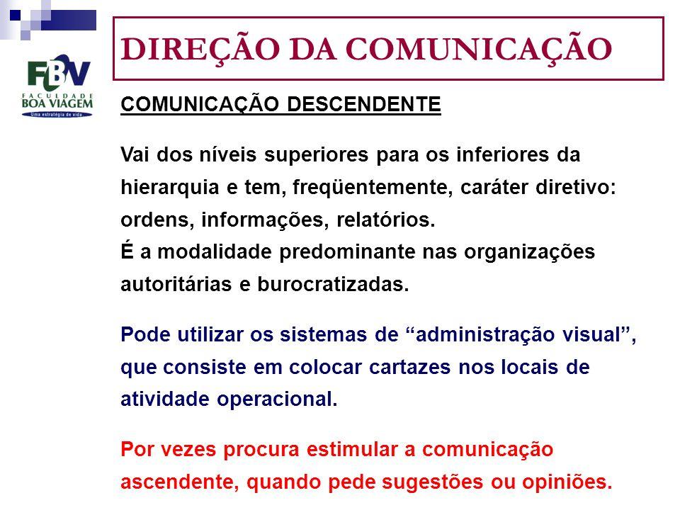 DIREÇÃO DA COMUNICAÇÃO COMUNICAÇÃO DESCENDENTE Vai dos níveis superiores para os inferiores da hierarquia e tem, freqüentemente, caráter diretivo: ordens, informações, relatórios.