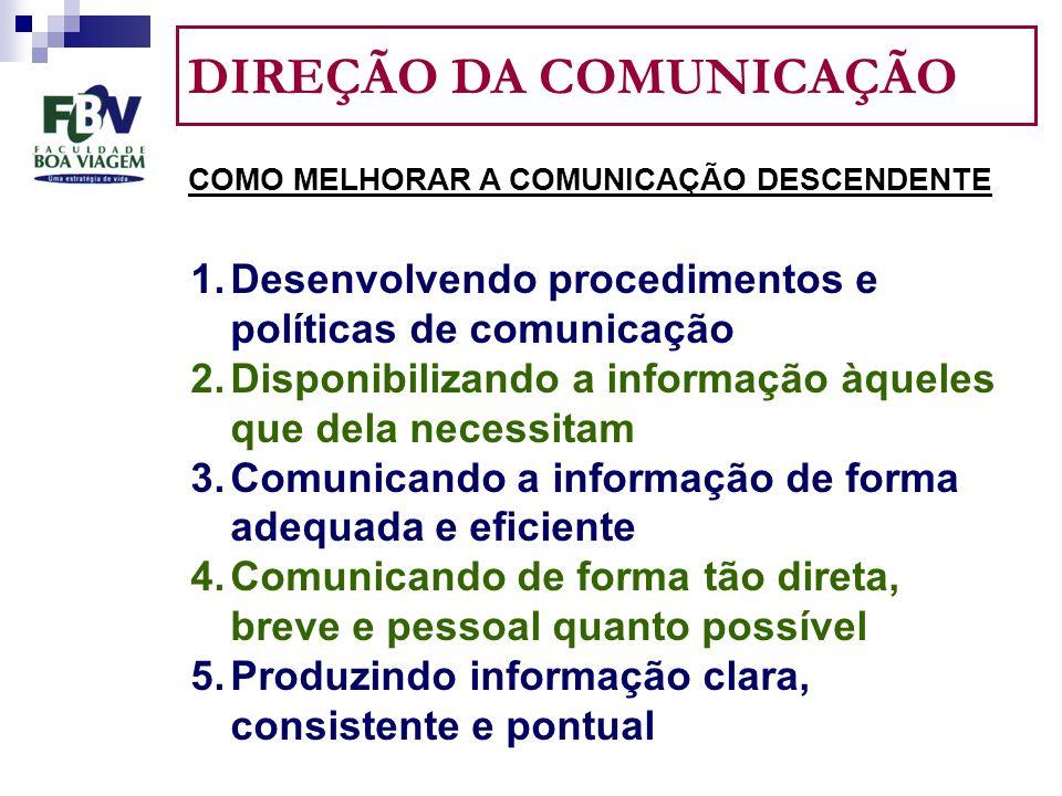 DIREÇÃO DA COMUNICAÇÃO COMO MELHORAR A COMUNICAÇÃO DESCENDENTE 1.Desenvolvendo procedimentos e políticas de comunicação 2.Disponibilizando a informação àqueles que dela necessitam 3.Comunicando a informação de forma adequada e eficiente 4.Comunicando de forma tão direta, breve e pessoal quanto possível 5.Produzindo informação clara, consistente e pontual