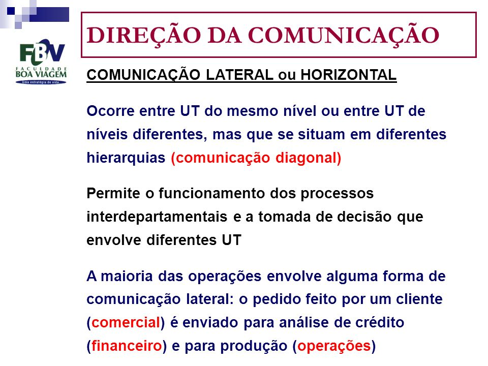 DIREÇÃO DA COMUNICAÇÃO COMUNICAÇÃO LATERAL ou HORIZONTAL Ocorre entre UT do mesmo nível ou entre UT de níveis diferentes, mas que se situam em diferentes hierarquias (comunicação diagonal) Permite o funcionamento dos processos interdepartamentais e a tomada de decisão que envolve diferentes UT A maioria das operações envolve alguma forma de comunicação lateral: o pedido feito por um cliente (comercial) é enviado para análise de crédito (financeiro) e para produção (operações)