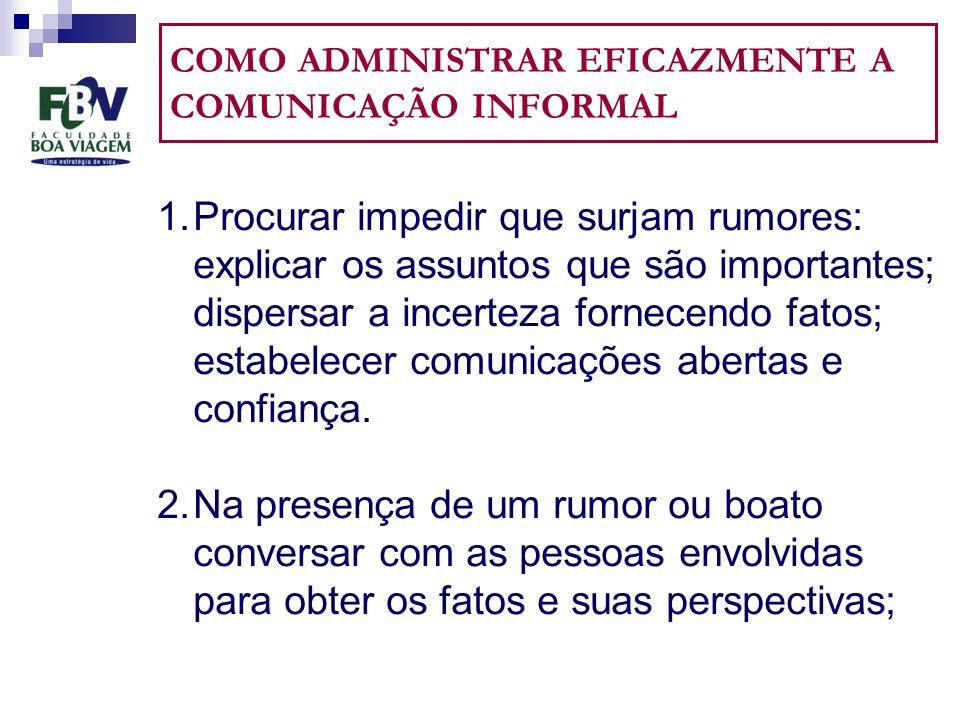 COMO ADMINISTRAR EFICAZMENTE A COMUNICAÇÃO INFORMAL 1.Procurar impedir que surjam rumores: explicar os assuntos que são importantes; dispersar a incerteza fornecendo fatos; estabelecer comunicações abertas e confiança.