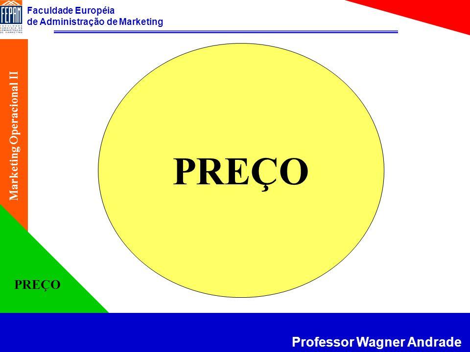 Faculdade Européia de Administração de Marketing Professor Wagner Andrade Marketing Operacional II PREÇO Características do Preço Negociável e facilmente alterável; Preponderante na tomada de decisão; Gerador de receitas.