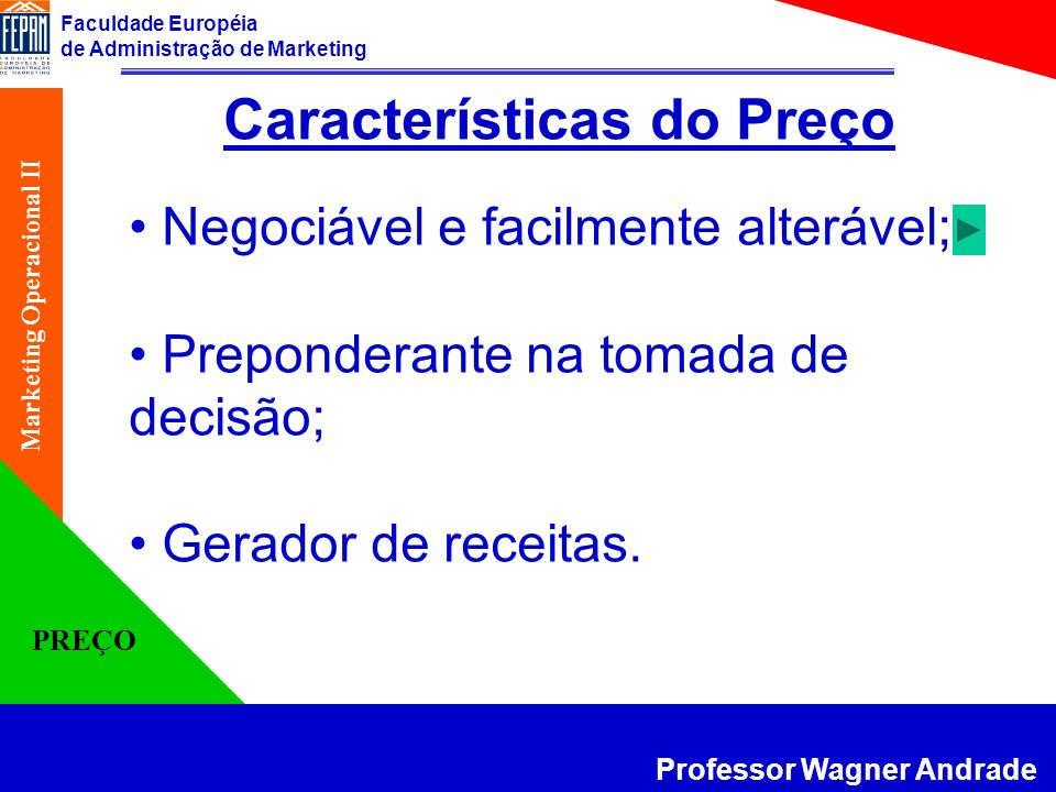 Faculdade Européia de Administração de Marketing Professor Wagner Andrade Marketing Operacional II PREÇO A estratégia de preço deve estar relacionada com os objetivos estratégicos da empresa.