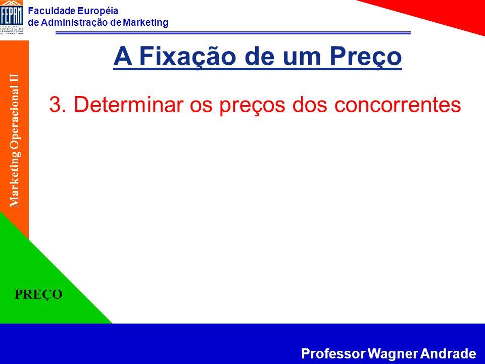 Faculdade Européia de Administração de Marketing Professor Wagner Andrade Marketing Operacional II PREÇO A Fixação de um Preço 3. Determinar os preços