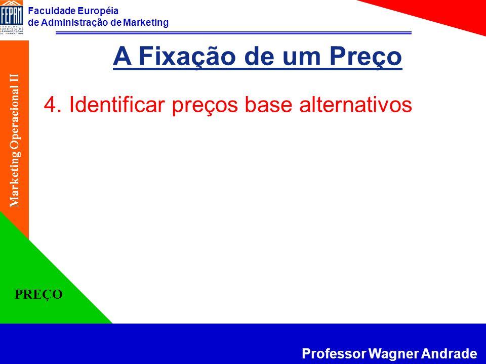 Faculdade Européia de Administração de Marketing Professor Wagner Andrade Marketing Operacional II PREÇO A Fixação de um Preço 4. Identificar preços b