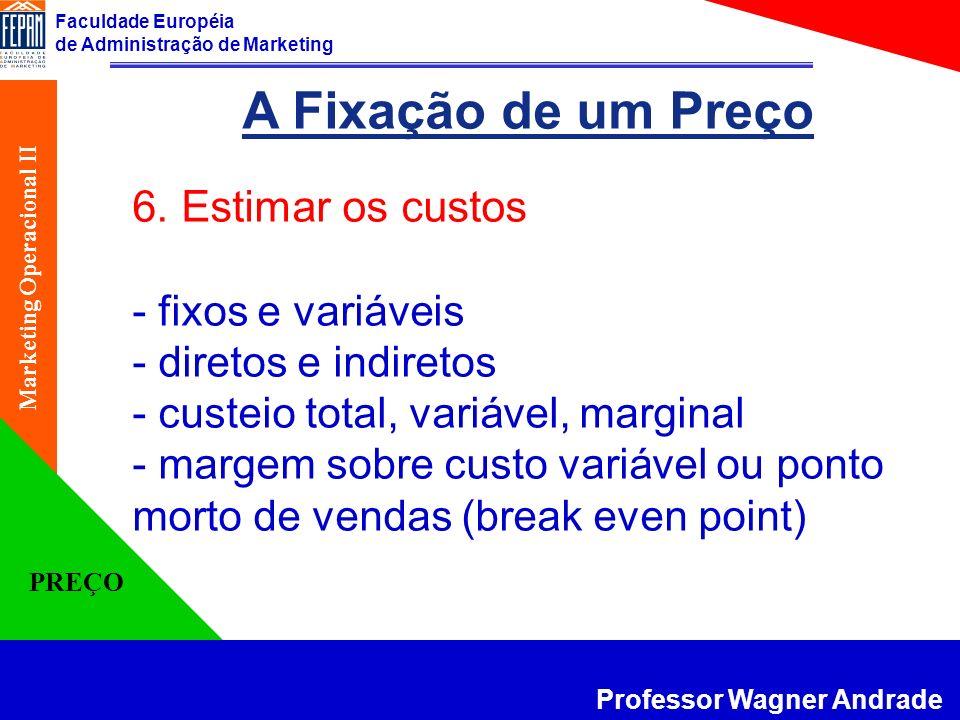 Faculdade Européia de Administração de Marketing Professor Wagner Andrade Marketing Operacional II PREÇO A Fixação de um Preço 6. Estimar os custos -