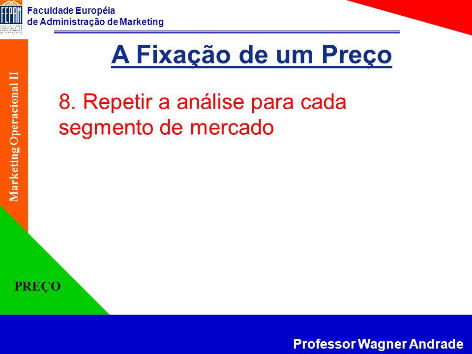 Faculdade Européia de Administração de Marketing Professor Wagner Andrade Marketing Operacional II PREÇO A Fixação de um Preço 8. Repetir a análise pa