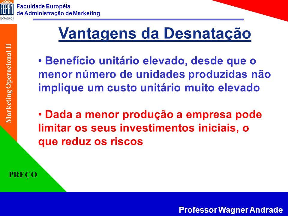 Faculdade Européia de Administração de Marketing Professor Wagner Andrade Marketing Operacional II PREÇO Vantagens da Desnatação Benefício unitário el