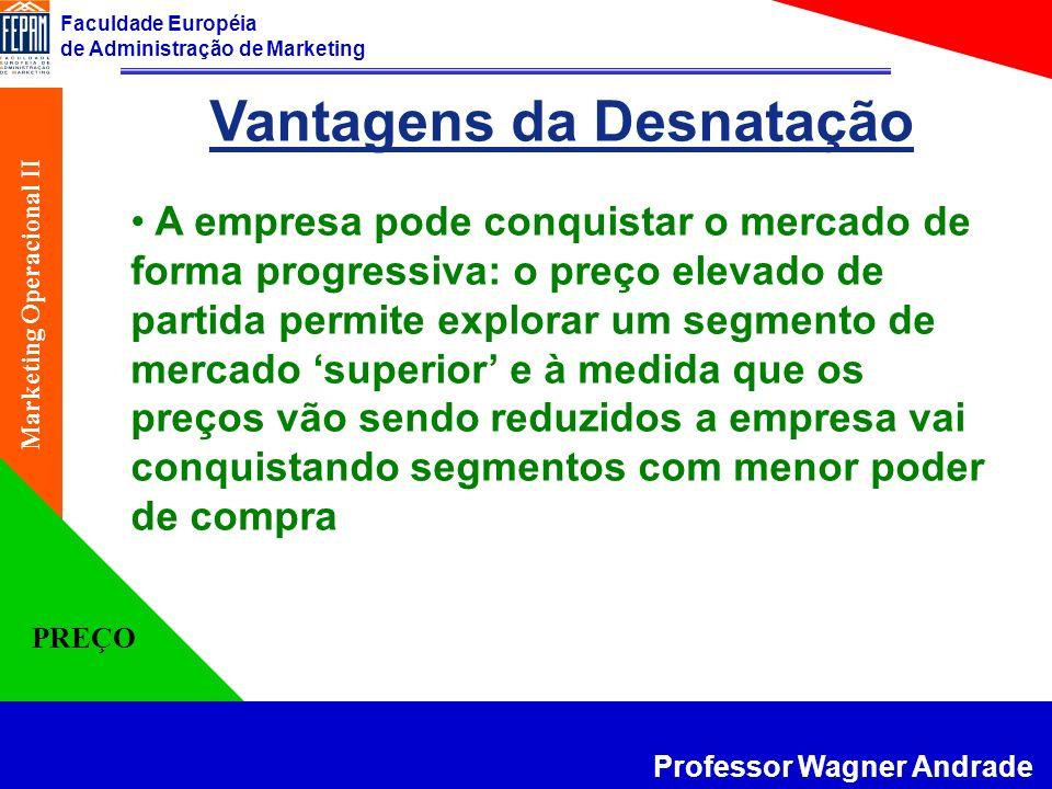 Faculdade Européia de Administração de Marketing Professor Wagner Andrade Marketing Operacional II PREÇO Vantagens da Desnatação A empresa pode conqui