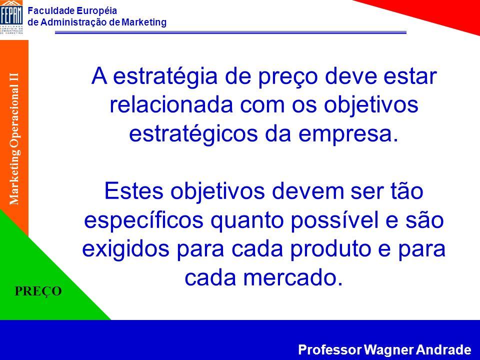 Faculdade Européia de Administração de Marketing Professor Wagner Andrade Marketing Operacional II PREÇO A Adaptação dos Preços - descontos De pagamento De quantidade De sazonalidade Funcionais Promocionais De Financiamento (juro de 0%) Trade-in