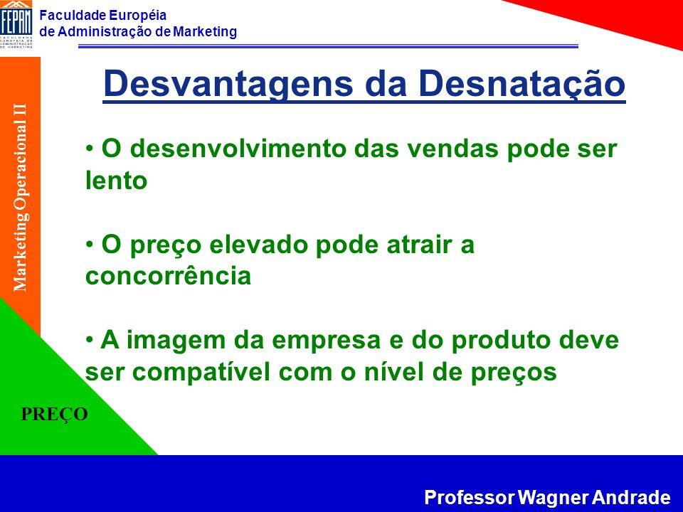 Faculdade Européia de Administração de Marketing Professor Wagner Andrade Marketing Operacional II PREÇO Desvantagens da Desnatação O desenvolvimento