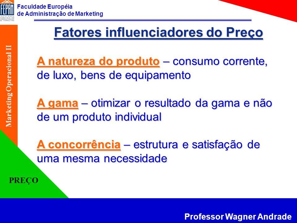 Faculdade Européia de Administração de Marketing Professor Wagner Andrade Marketing Operacional II PREÇO Fatores influenciadores do Preço A natureza d