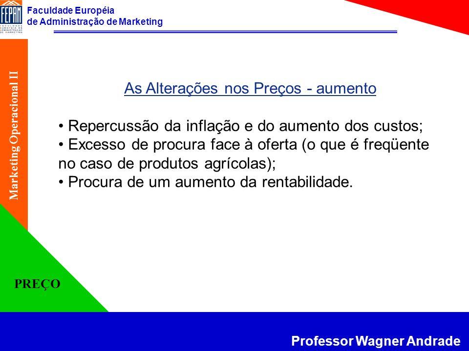 Faculdade Européia de Administração de Marketing Professor Wagner Andrade Marketing Operacional II PREÇO As Alterações nos Preços - aumento Repercussã