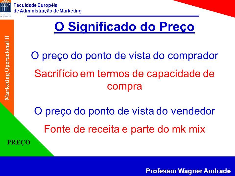 Faculdade Européia de Administração de Marketing Professor Wagner Andrade Marketing Operacional II PREÇO A elasticidade depende da dimensão (pouco ou muito) e da direção da alteração de preço (subida ou descida) e no longo prazo pode ser diferente do curto prazo