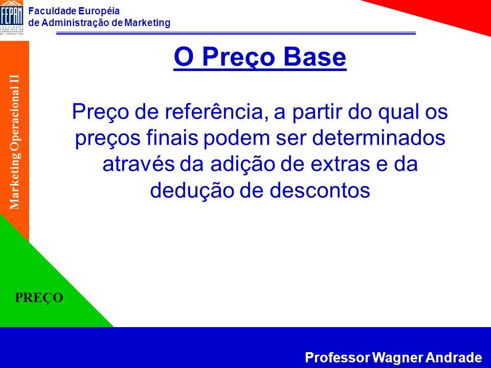 Faculdade Européia de Administração de Marketing Professor Wagner Andrade Marketing Operacional II PREÇO Diferentes Métodos de Fixação de um Preço 1.
