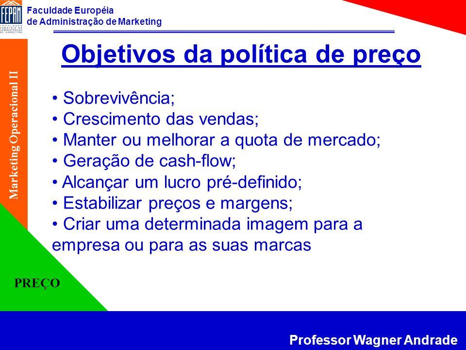 Faculdade Européia de Administração de Marketing Professor Wagner Andrade Marketing Operacional II PREÇO Objetivos da política de preço Sobrevivência;