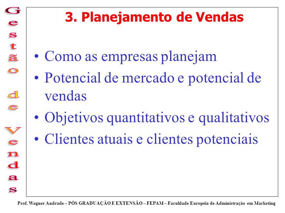 Prof. Wagner Andrade – PÓS GRADUAÇÃO E EXTENSÃO – FEPAM – Faculdade Européia de Administração em Marketing 3. Planejamento de Vendas Como as empresas