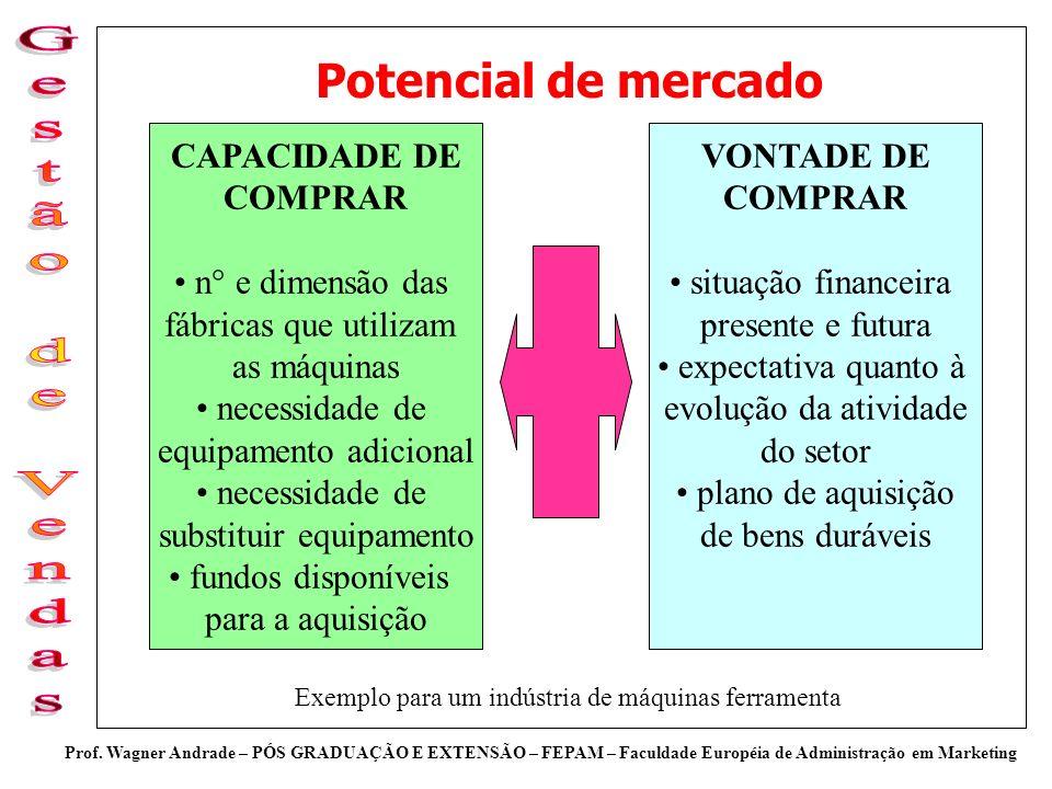 Prof. Wagner Andrade – PÓS GRADUAÇÃO E EXTENSÃO – FEPAM – Faculdade Européia de Administração em Marketing Potencial de mercado CAPACIDADE DE COMPRAR