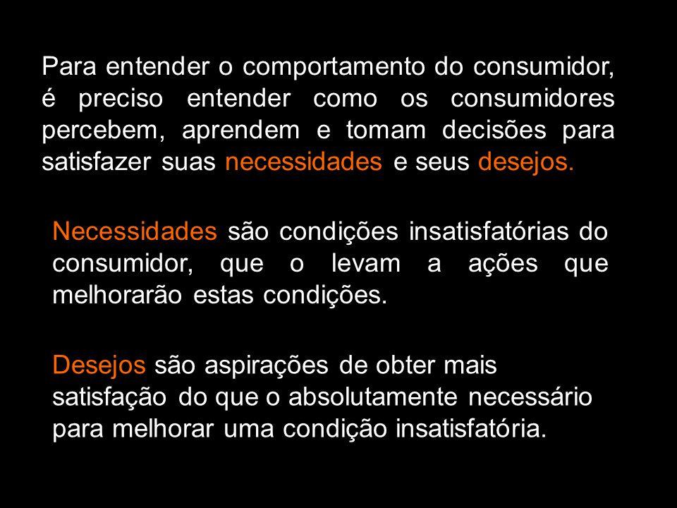 Para entender o comportamento do consumidor, é preciso entender como os consumidores percebem, aprendem e tomam decisões para satisfazer suas necessid