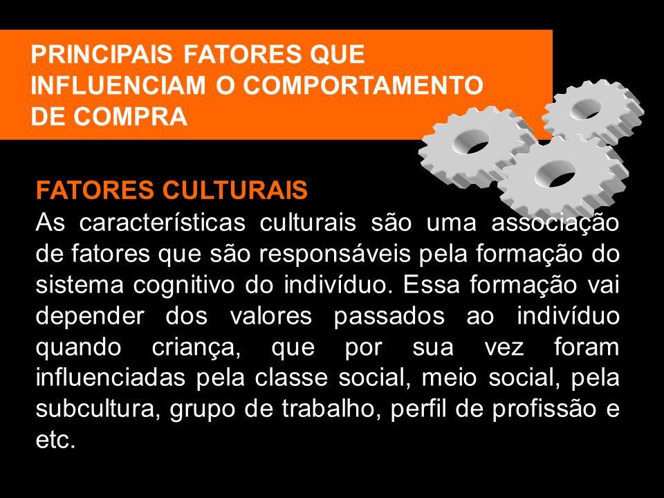 PRINCIPAIS FATORES QUE INFLUENCIAM O COMPORTAMENTO DE COMPRA FATORES CULTURAIS As características culturais são uma associação de fatores que são resp