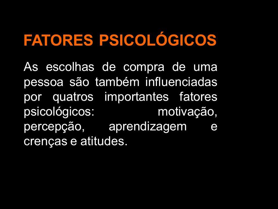 As escolhas de compra de uma pessoa são também influenciadas por quatros importantes fatores psicológicos: motivação, percepção, aprendizagem e crença