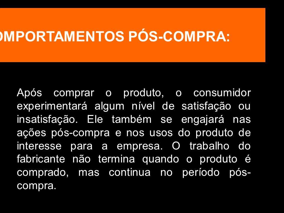 COMPORTAMENTOS PÓS-COMPRA: Após comprar o produto, o consumidor experimentará algum nível de satisfação ou insatisfação. Ele também se engajará nas aç